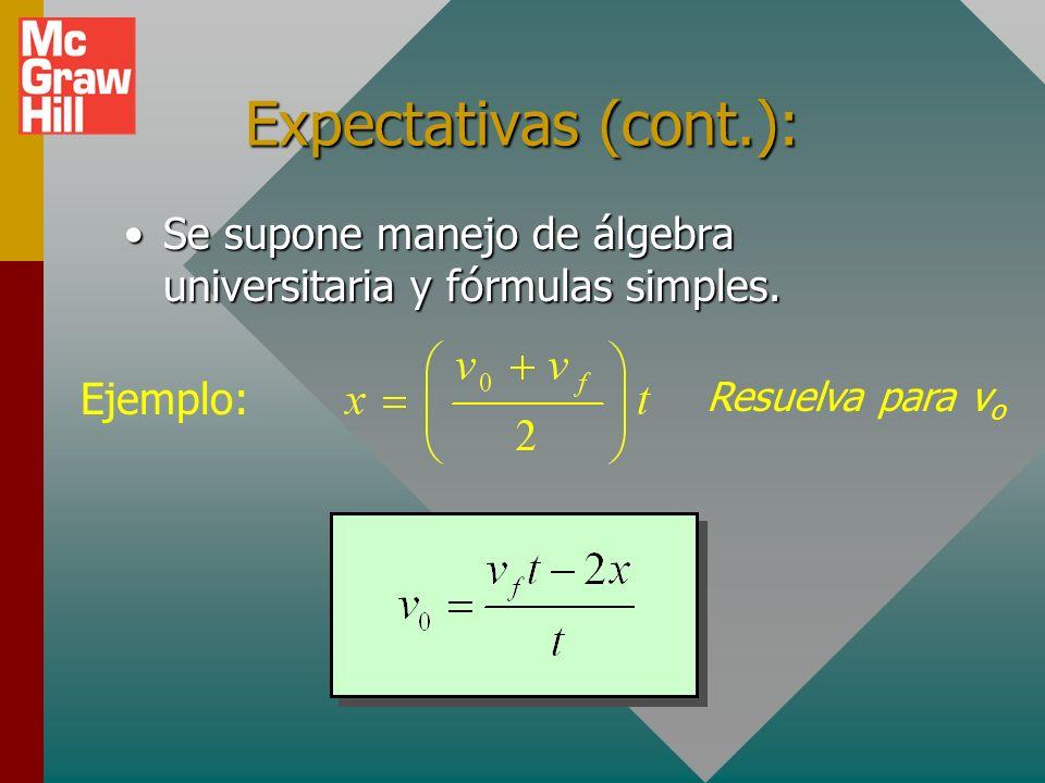 Expectativas (cont.): Se supone manejo de álgebra universitaria y fórmulas simples.Se supone manejo de álgebra universitaria y fórmulas simples.