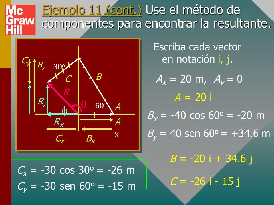 A continuación se proporciona una comprensión gráfica de los componentes y la resultante: 60 o 30 o R Nota: R x = A x + B x + C x AxAx B BxBx RxRx A C