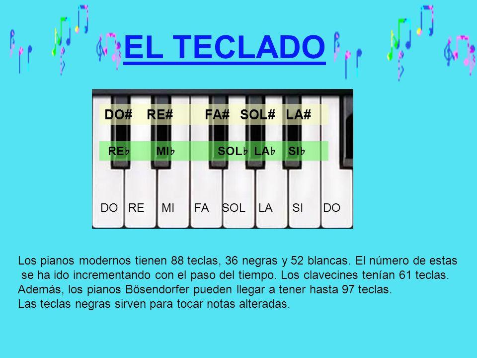 EL TECLADO Los pianos modernos tienen 88 teclas, 36 negras y 52 blancas. El número de estas se ha ido incrementando con el paso del tiempo. Los clavec