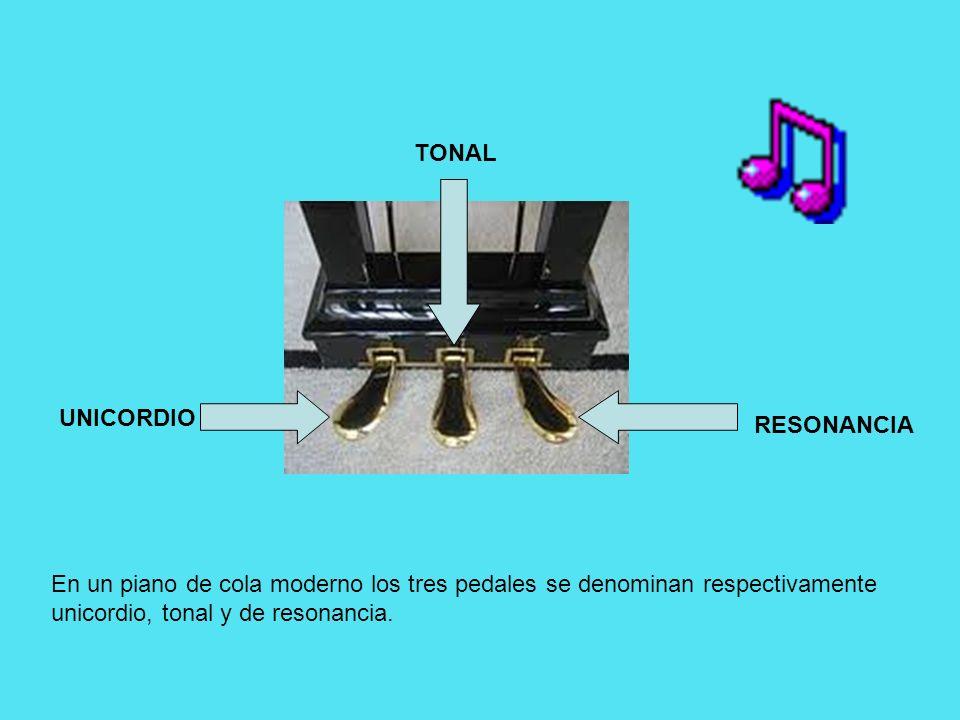 En un piano de cola moderno los tres pedales se denominan respectivamente unicordio, tonal y de resonancia. UNICORDIO RESONANCIA TONAL