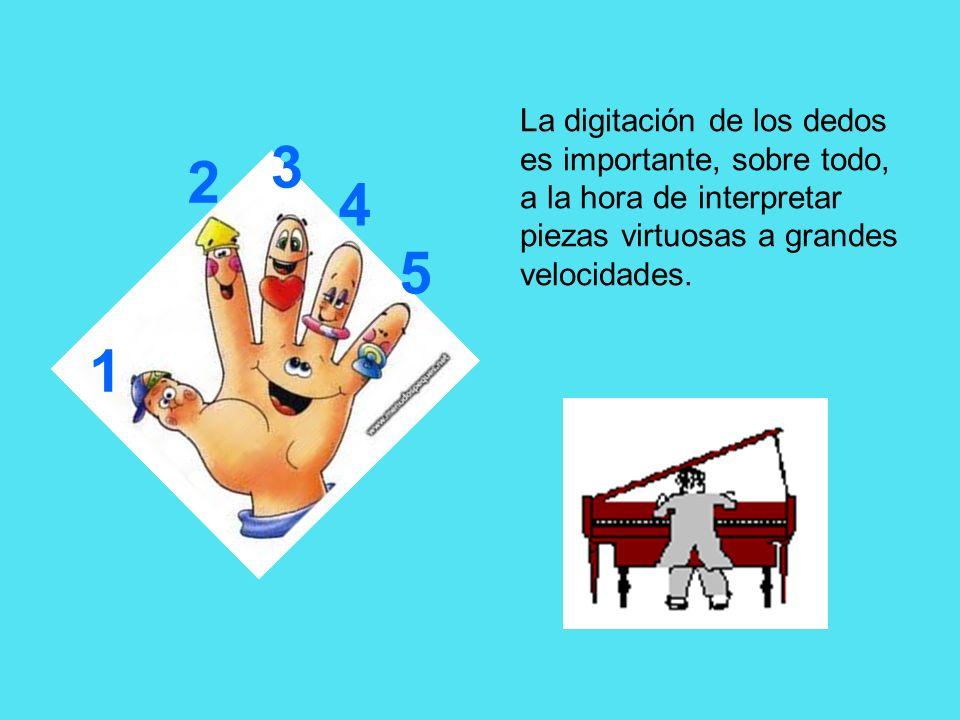 1 2 3 4 5 La digitación de los dedos es importante, sobre todo, a la hora de interpretar piezas virtuosas a grandes velocidades.
