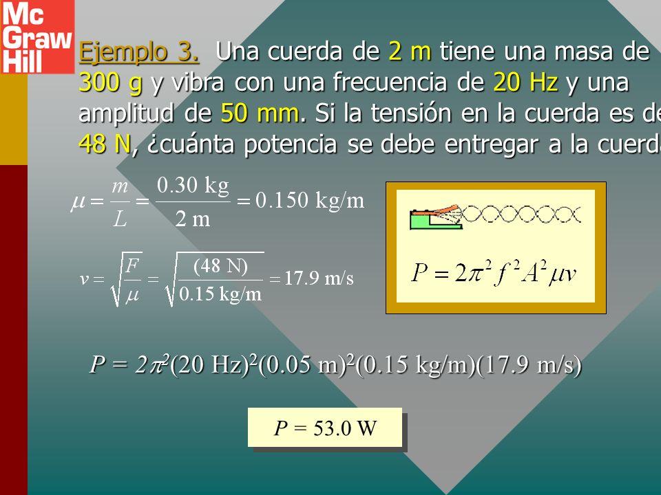 Energía de una onda periódica La energía de una onda periódica en una cuerda es una función de la densidad lineal m, la frecuencia f, la velocidad v y
