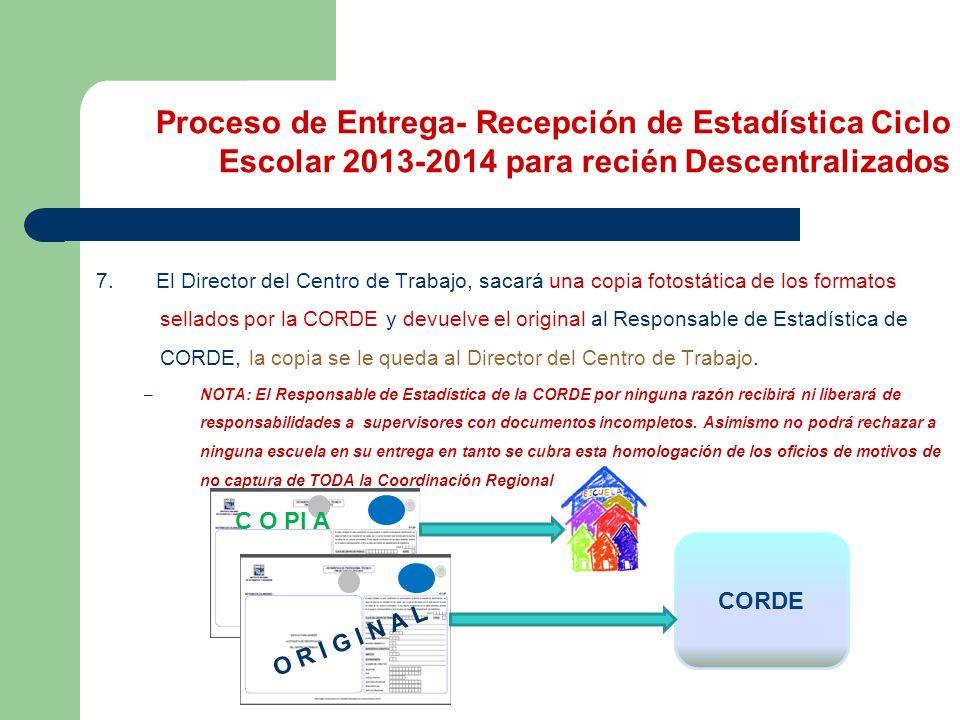 7. El Director del Centro de Trabajo, sacará una copia fotostática de los formatos sellados por la CORDE y devuelve el original al Responsable de Esta