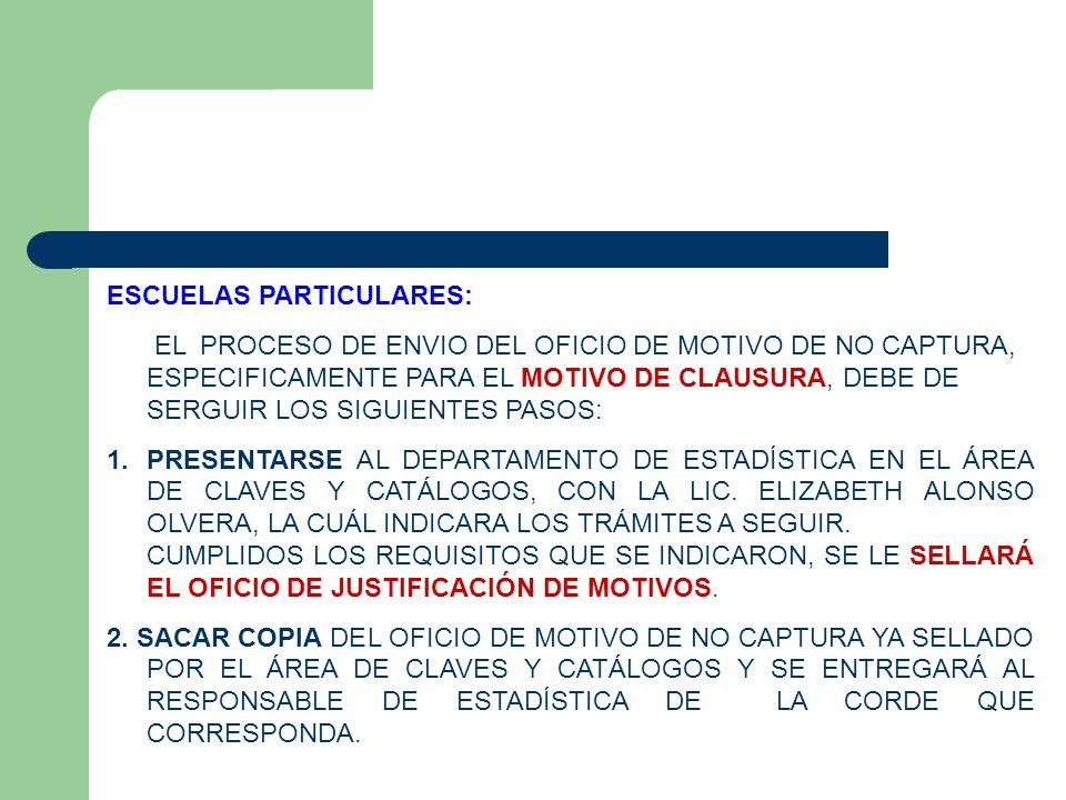 ESCUELAS PARTICULARES: EL PROCESO DE ENVIO DEL OFICIO DE MOTIVO DE NO CAPTURA, ESPECIFICAMENTE PARA EL MOTIVO DE CLAUSURA, DEBE DE SERGUIR LOS SIGUIEN