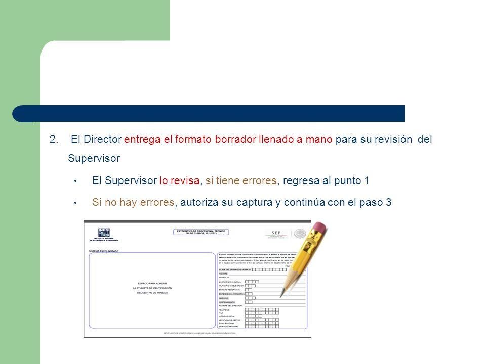 2. El Director entrega el formato borrador llenado a mano para su revisión del Supervisor El Supervisor lo revisa, si tiene errores, regresa al punto