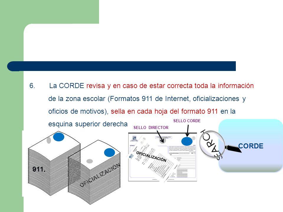 6. La CORDE revisa y en caso de estar correcta toda la información de la zona escolar (Formatos 911 de Internet, oficializaciones y oficios de motivos