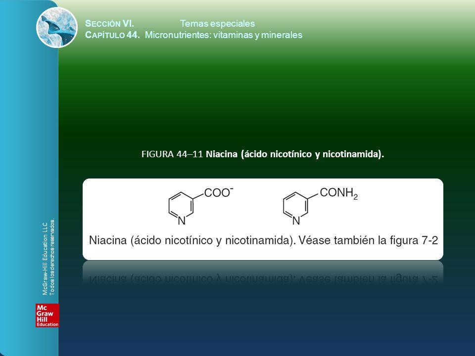 S ECCIÓN VI.Temas especiales C APÍTULO 44. Micronutrientes: vitaminas y minerales FIGURA 44–11 Niacina (ácido nicotínico y nicotinamida). McGraw-Hill