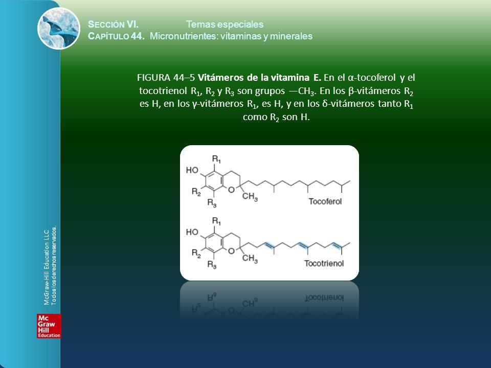 S ECCIÓN VI.Temas especiales C APÍTULO 44. Micronutrientes: vitaminas y minerales FIGURA 44–5 Vitámeros de la vitamina E. En el α-tocoferol y el tocot