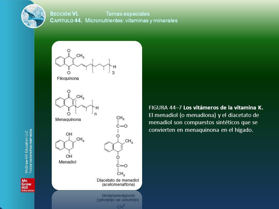 S ECCIÓN VI.Temas especiales C APÍTULO 44. Micronutrientes: vitaminas y minerales FIGURA 44–7 Los vitámeros de la vitamina K. El menadiol (o menadiona