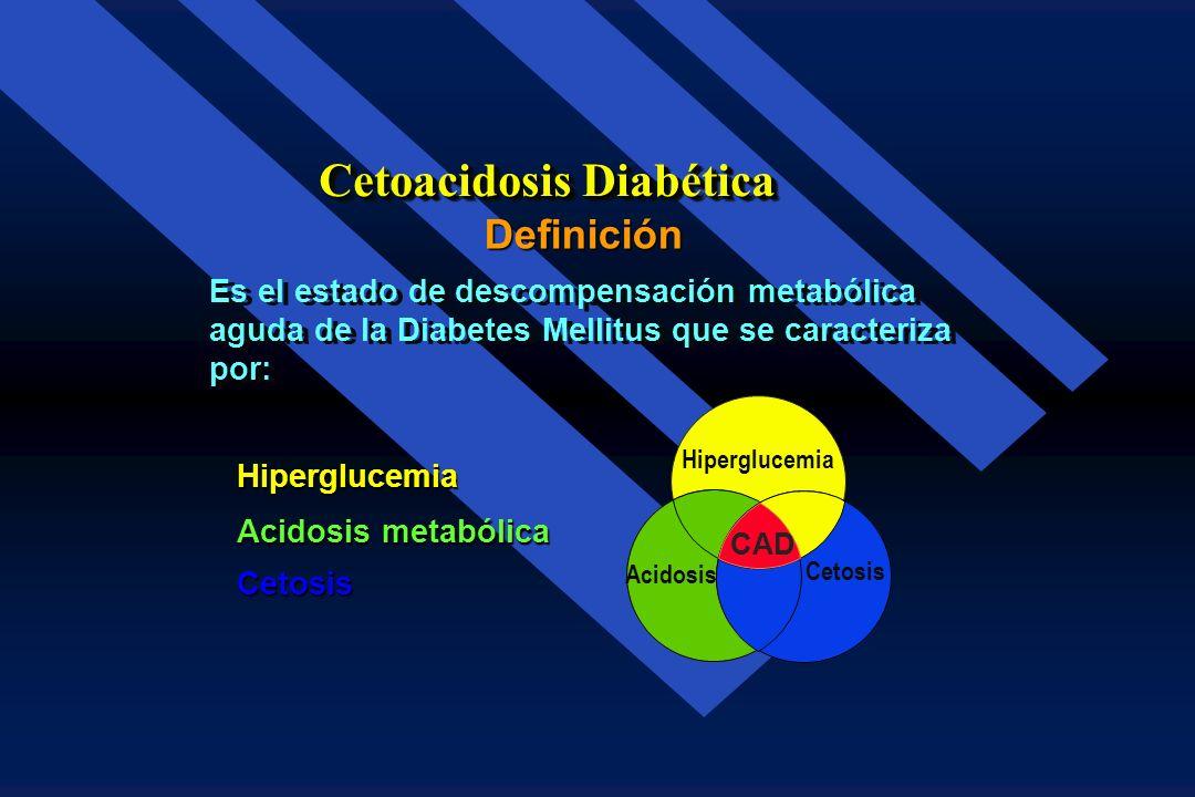 Definición Cetoacidosis Diabética Es un estado de Acidosis metabólica con un pH arterial inferior a 7.2 y una concen tración sanguínea de cuerpos cetó