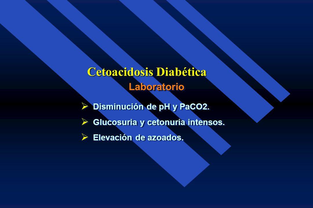 Hiperglucemia 200 a 800 mg/dl. Hiperglucemia 200 a 800 mg/dl. Cetonemia total (> 2 mmol./L.) Cetonemia total (> 2 mmol./L.) Disminución de bicarbonato