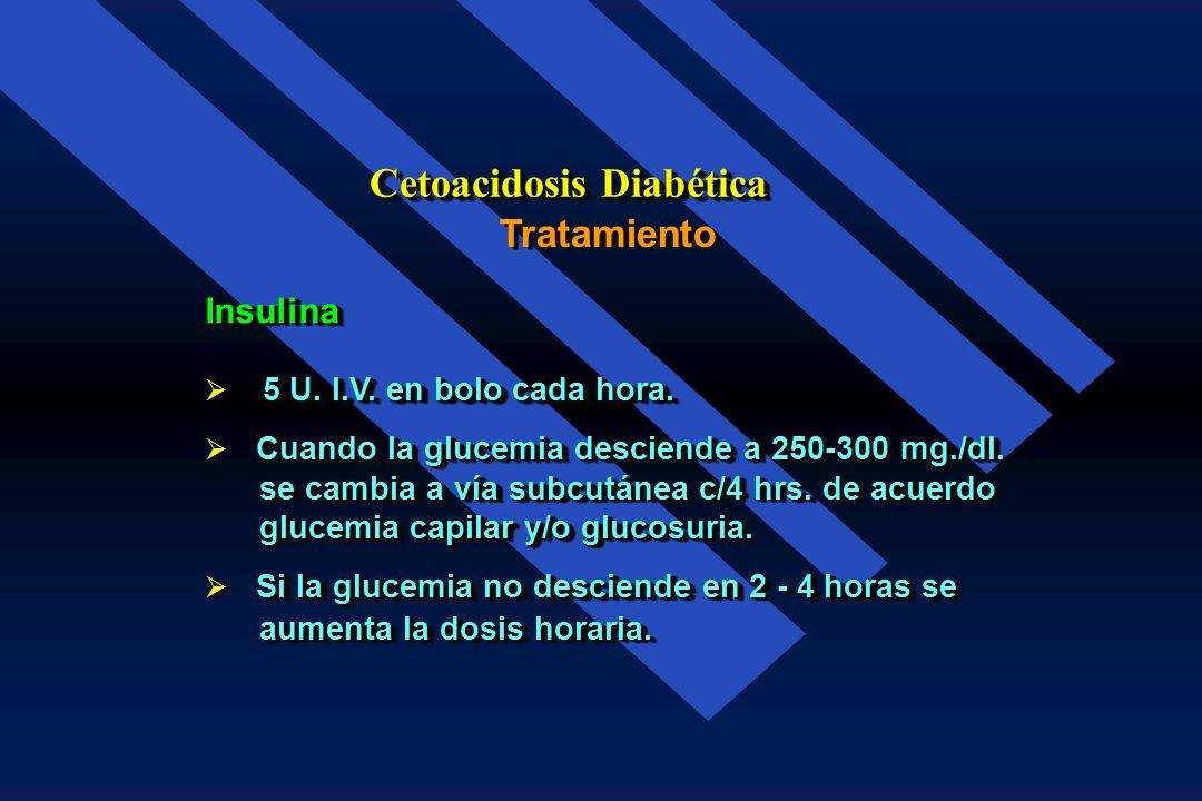 Insulina Se puede dar o no bolo inicial de 0.2 - 0.3 U./kg. de peso I.V. Se puede dar o no bolo inicial de 0.2 - 0.3 U./kg. de peso I.V. Al descender