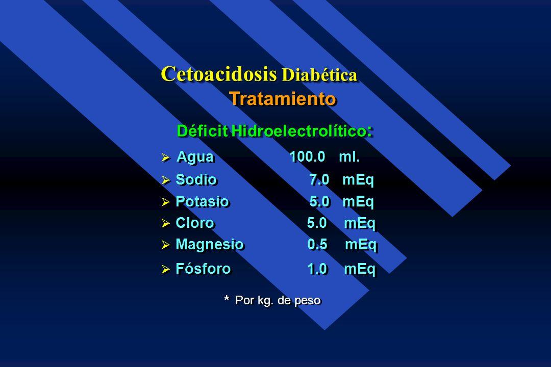 Tratamiento Cetoacidosis Diabética Insulina 5 U. I.V. en bolo cada hora. 5 U. I.V. en bolo cada hora. Cuando la glucemia desciende a 250-300 mg./dl. C