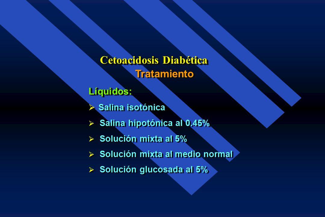 * Por kg. de peso Tratamiento Cetoacidosis Diabética Agua 100.0 ml. Sodio 7.0 mEq Potasio 5.0 mEq Cloro 5.0 mEq Magnesio 0.5 mEq Fósforo 1.0 mEq Agua