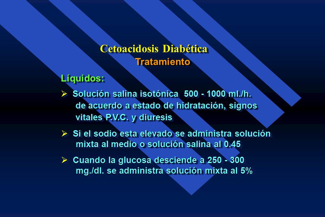 Tratamiento Cetoacidosis Diabética Salina isotónica Salina hipotónica al 0.45% Solución mixta al 5% Solución mixta al medio normal Solución glucosada