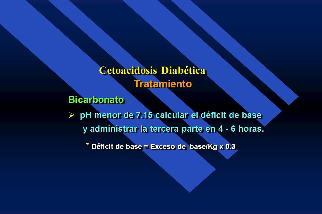 Tratamiento Cetoacidosis Diabética Bicarbonato: pH menor de 7.0: 88 mEq en 30 min. pH menor de 7.0: 88 mEq en 30 min. pH de 7.0 a 7.15: 44 mEq en 30 m
