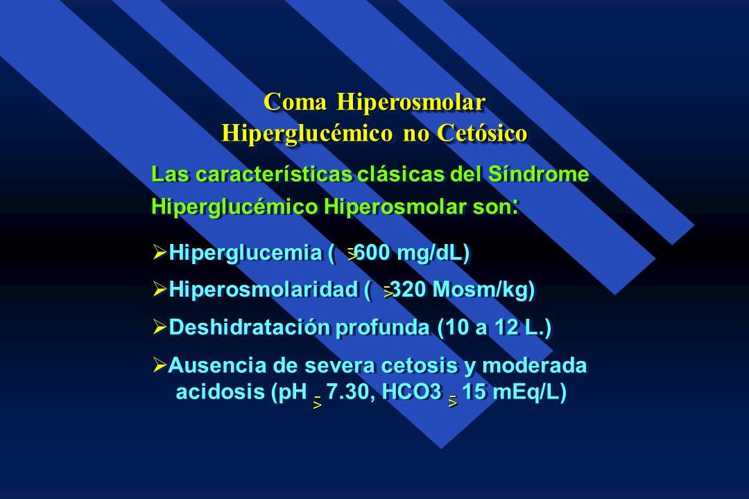 Clásicamente el Síndrome está definido por : Una Osmolaridad sérica mayor de 350 mOsm/Kg. de agua Una Osmolaridad sérica mayor de 350 mOsm/Kg. de agua