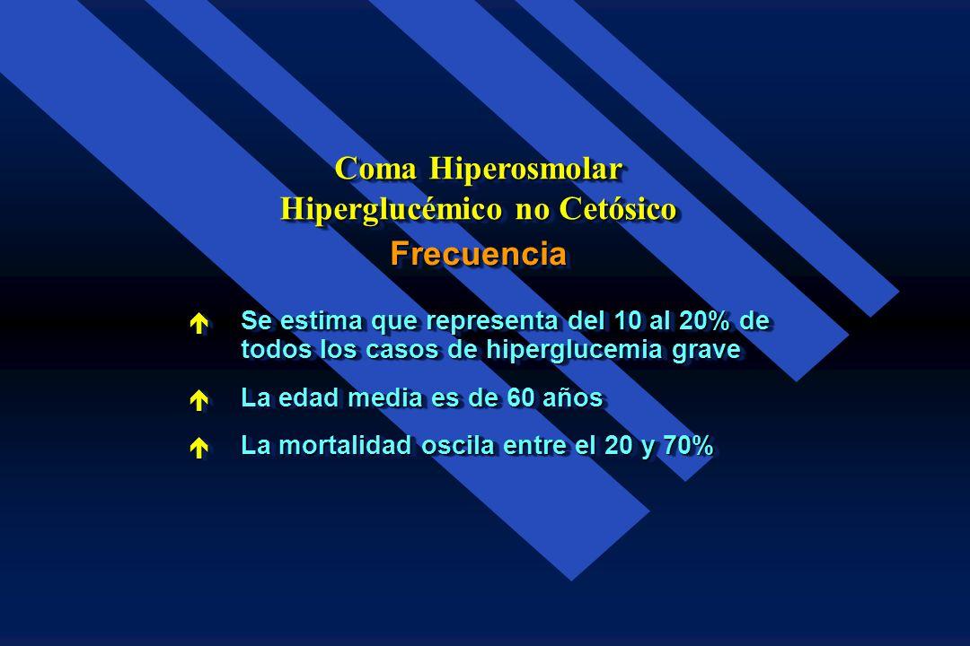 Las características clásicas del Síndrome Hiperglucémico Hiperosmolar son : Coma Hiperosmolar Hiperglucémico no Cetósico Hiperosmolaridad ( 320 Mosm/k