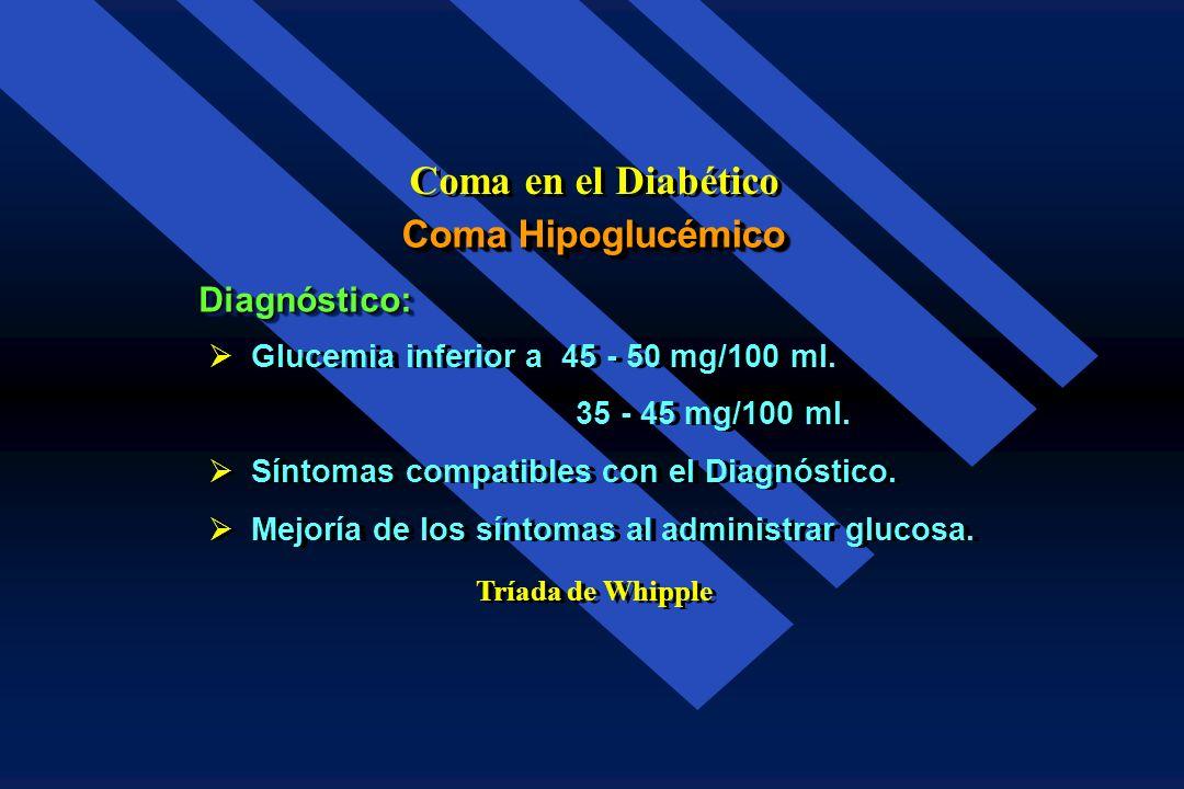 Adrenérgicos Neuroglucopénicos Temblor Cefalea Ansiedad Debilidad Hambre Diplopia Sudoración Confusión Palpitaciones Amnesia Taquicardia Incoordinació