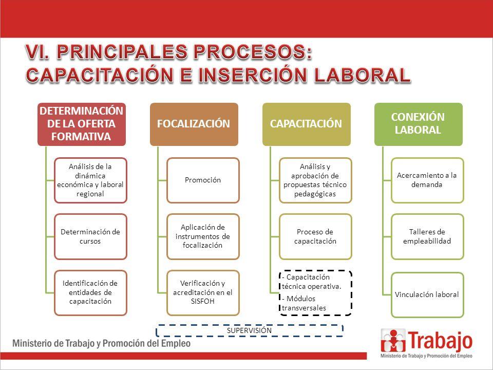 DETERMINACIÓN DE LA OFERTA FORMATIVA Análisis de la dinámica económica y laboral regional Determinación de cursos Identificación de entidades de capac