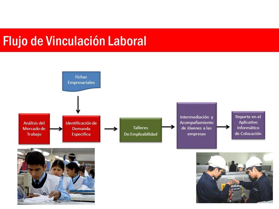 Flujo de Vinculación Laboral Análisis del Mercado de Trabajo Identificación de Demanda Especifica Talleres De Empleabilidad Talleres De Empleabilidad