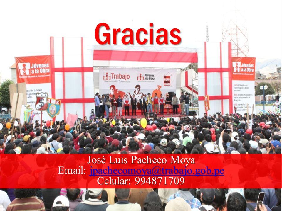Gracias José Luis Pacheco Moya Email: jpachecomoya@trabajo.gob.pe jpachecomoya@trabajo.gob.pe Celular: 994871709