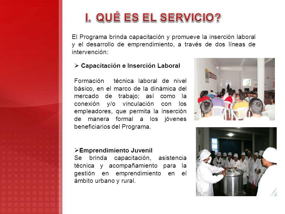 El Programa brinda capacitación y promueve la inserción laboral y el desarrollo de emprendimiento, a través de dos líneas de intervención: Capacitació