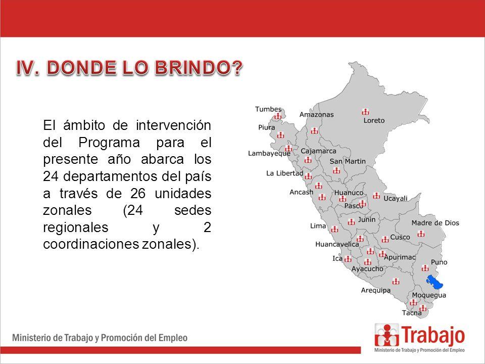 El ámbito de intervención del Programa para el presente año abarca los 24 departamentos del país a través de 26 unidades zonales (24 sedes regionales