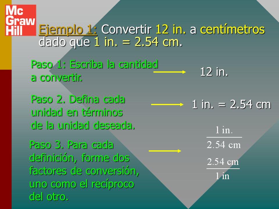 Procedimiento para convertir unidades 1. 1.Escriba la cantidad a convertir. 2. 2.Defina cada unidad en términos de la unidad deseada. 3. 3.Por cada de