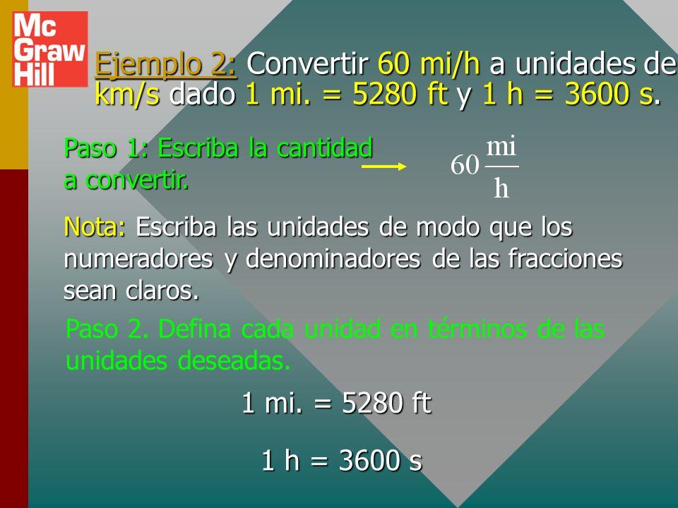 Ejemplo 1 (cont.): Convertir 12 in. a centímetros dado que 1 in. = 2.54 cm. Del paso 3. o ¡Mala elección! Paso 4. Multiplique por aquellos factores qu