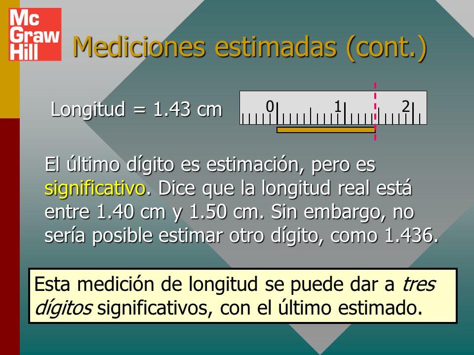 Incertidumbre de medición Todas las mediciones se suponen aproximadas con el último dígito estimado. 012 Aquí, la longitud encm se escribe como: 1.43
