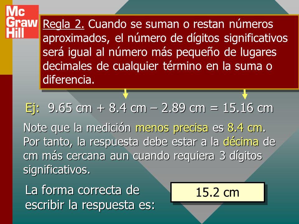 Regla 1. Cuando se multiplican o dividen números aproximados, el número de dígitos significativos en la respuesta final es el mismo que el número de d