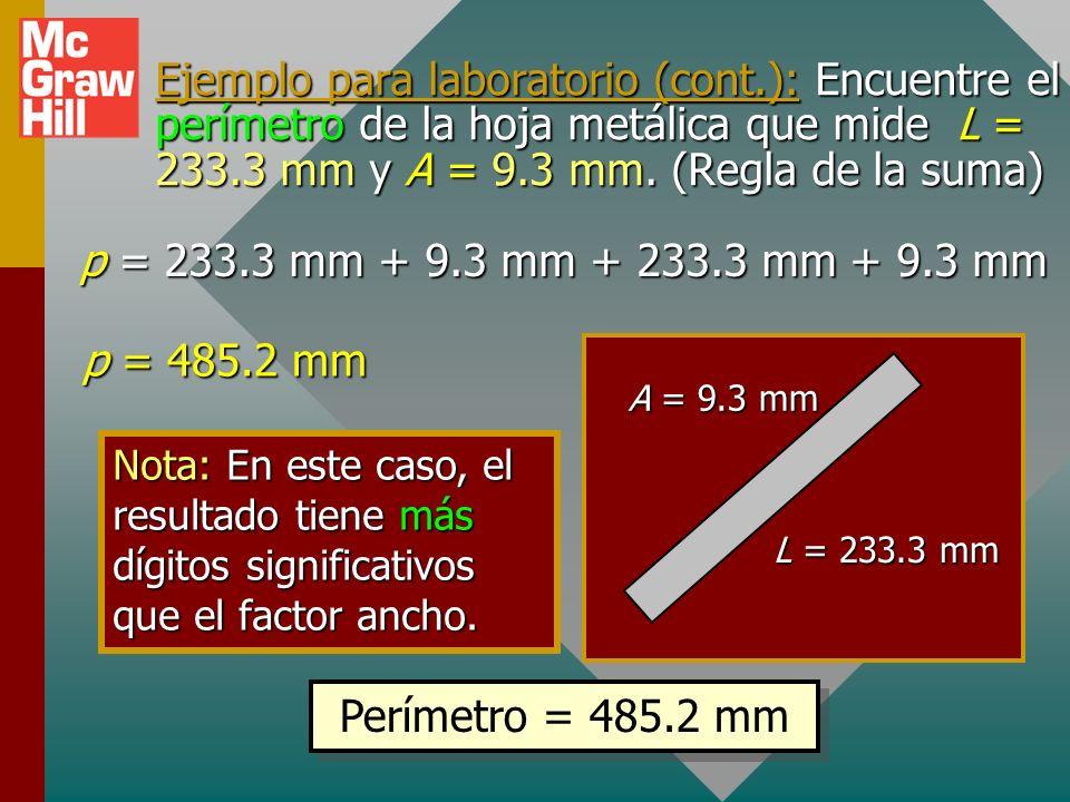 Ejemplo para laboratorio (cont.): Una hoja metálica mide 233.3 mm de largo y 9.3 mm de ancho. Encuentre su área. Área = LA = (233.3 mm)(9.3 mm) Área =
