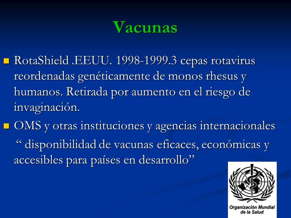 Vacunas RotaShield.EEUU. 1998-1999.3 cepas rotavirus reordenadas genéticamente de monos rhesus y humanos. Retirada por aumento en el riesgo de invagin