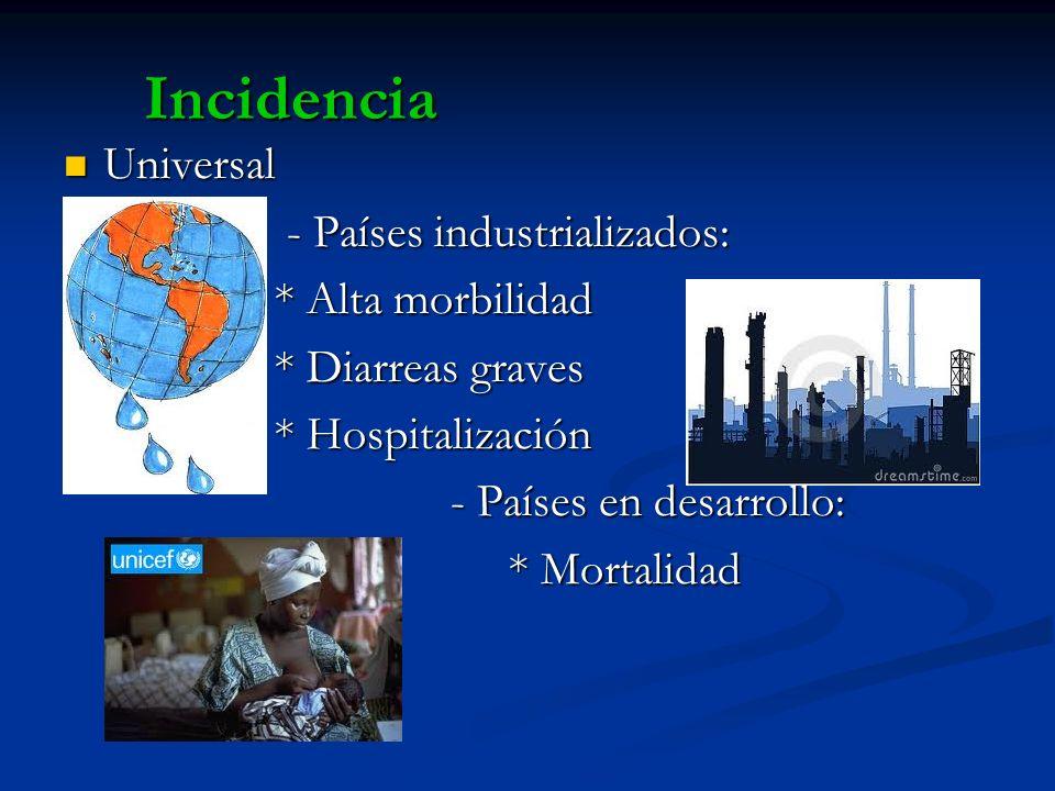 Incidencia Universal Universal - Países industrializados: - Países industrializados: * Alta morbilidad * Alta morbilidad * Diarreas graves * Diarreas
