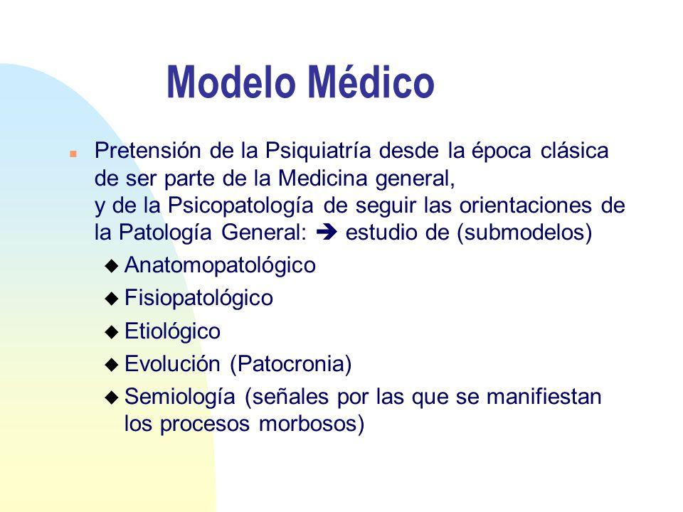 Modelo Médico n Pretensión de la Psiquiatría desde la época clásica de ser parte de la Medicina general, y de la Psicopatología de seguir las orientac