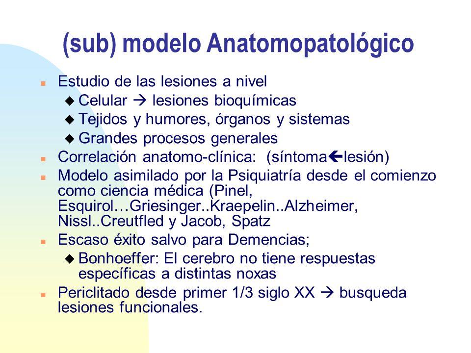 (sub) modelo Anatomopatológico n Estudio de las lesiones a nivel u Celular lesiones bioquímicas u Tejidos y humores, órganos y sistemas u Grandes proc