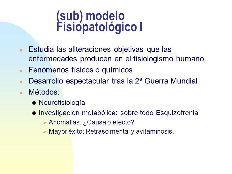 (sub) modelo Fisiopatológico I n Estudia las allteraciones objetivas que las enfermedades producen en el fisiologismo humano n Fenómenos físicos o quí