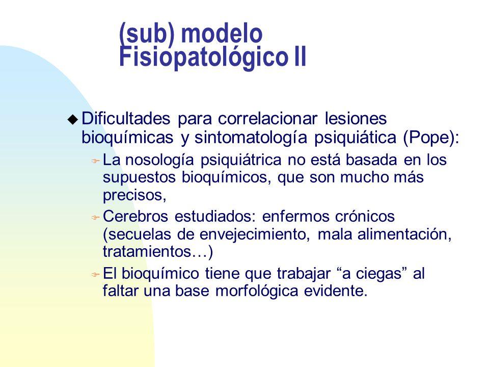 (sub) modelo Fisiopatológico II u Dificultades para correlacionar lesiones bioquímicas y sintomatología psiquiática (Pope): F La nosología psiquiátric
