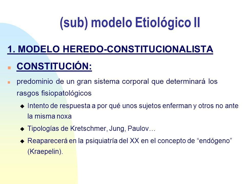 (sub) modelo Etiológico II 1. MODELO HEREDO-CONSTITUCIONALISTA n CONSTITUCIÓN: n predominio de un gran sistema corporal que determinará los rasgos fis