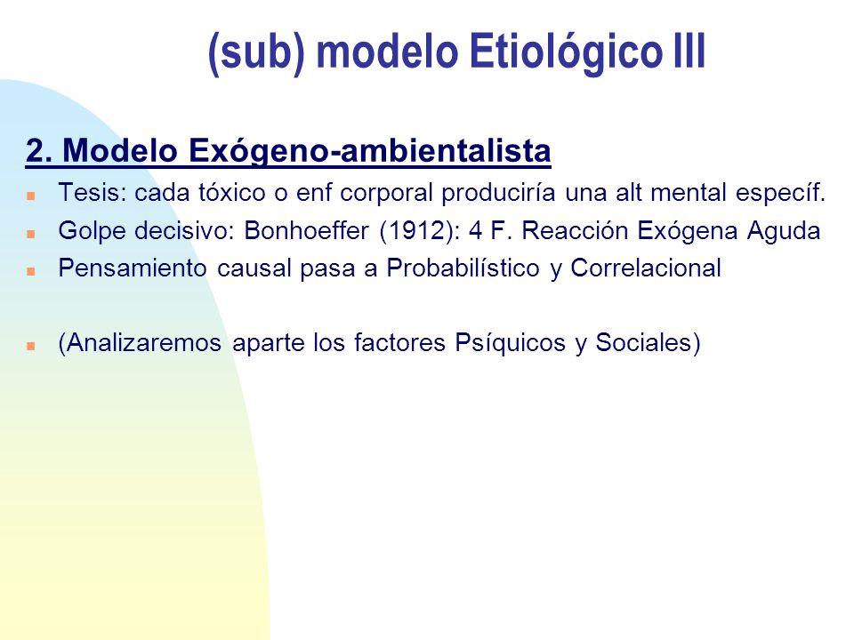 (sub) modelo Etiológico III 2. Modelo Exógeno-ambientalista n Tesis: cada tóxico o enf corporal produciría una alt mental específ. n Golpe decisivo: B