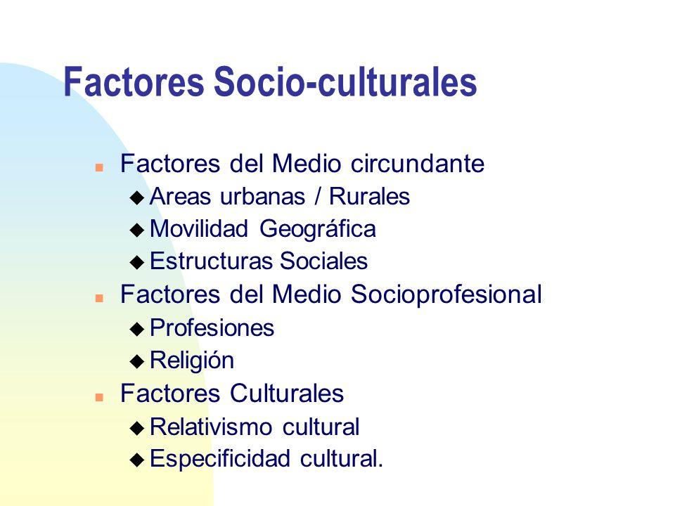Factores Socio-culturales n Factores del Medio circundante u Areas urbanas / Rurales u Movilidad Geográfica u Estructuras Sociales n Factores del Medi