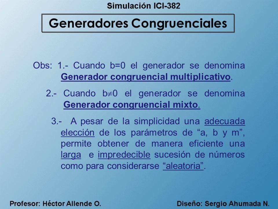 Obs: 1.- Cuando b=0 el generador se denomina Generador congruencial multiplicativo. 2.- Cuando b 0 el generador se denomina Generador congruencial mix