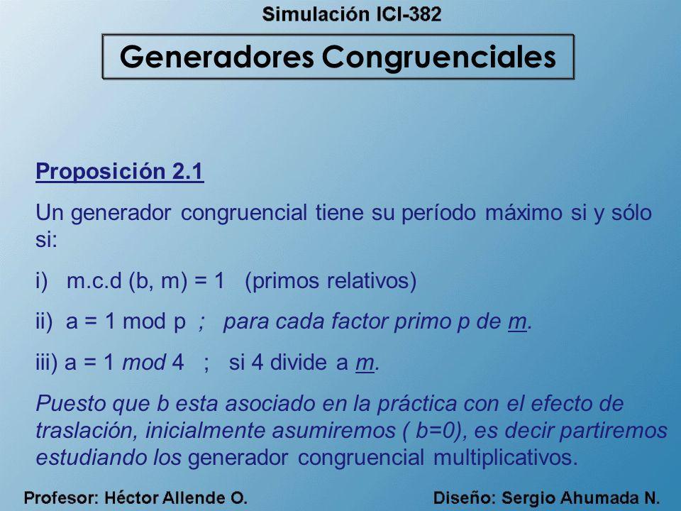 Proposición 2.1 Un generador congruencial tiene su período máximo si y sólo si: i) m.c.d (b, m) = 1 (primos relativos) ii) a = 1 mod p ; para cada fac