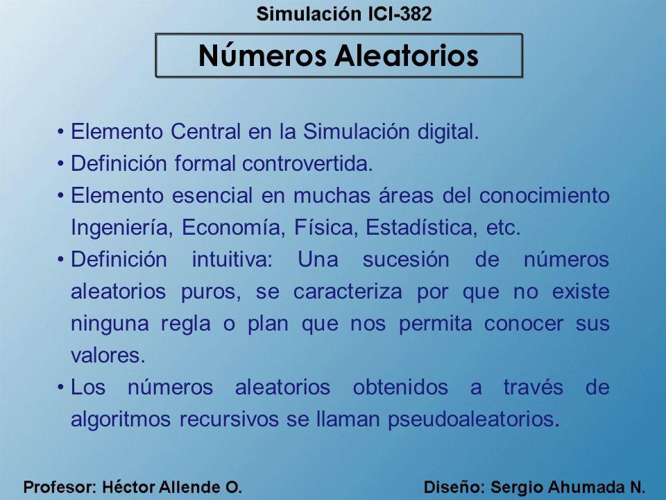 Elemento Central en la Simulación digital. Definición formal controvertida. Elemento esencial en muchas áreas del conocimiento Ingeniería, Economía, F