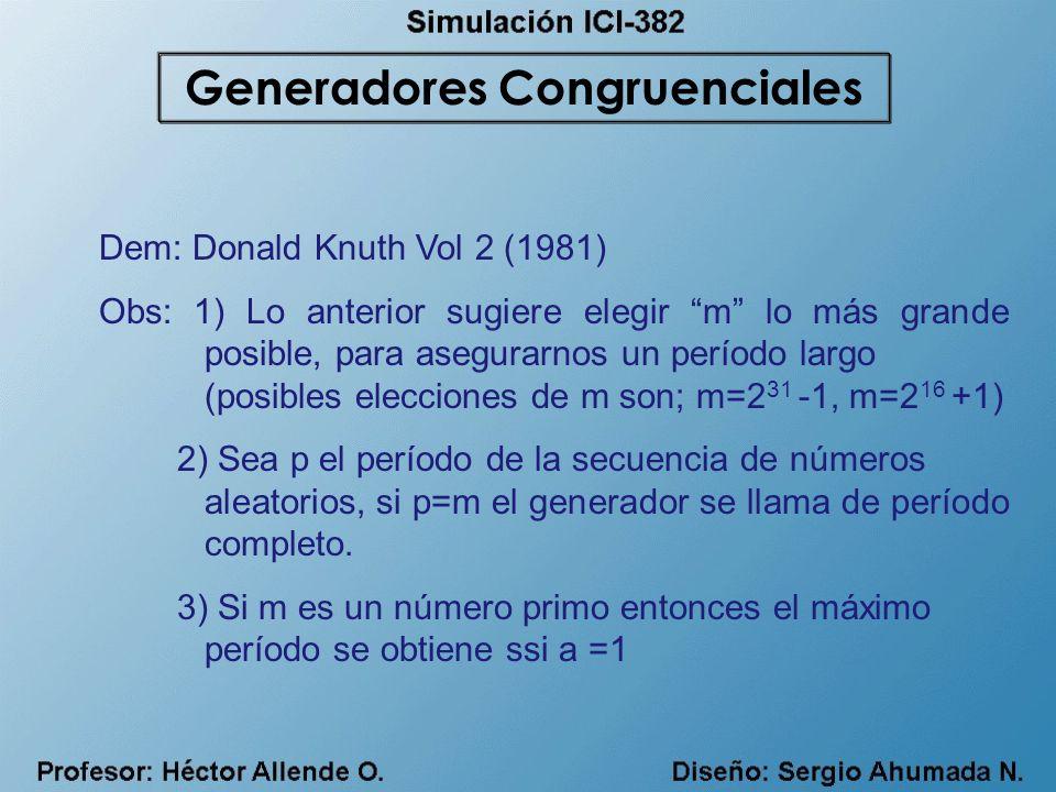 Dem: Donald Knuth Vol 2 (1981) Obs: 1) Lo anterior sugiere elegir m lo más grande posible, para asegurarnos un período largo (posibles elecciones de m