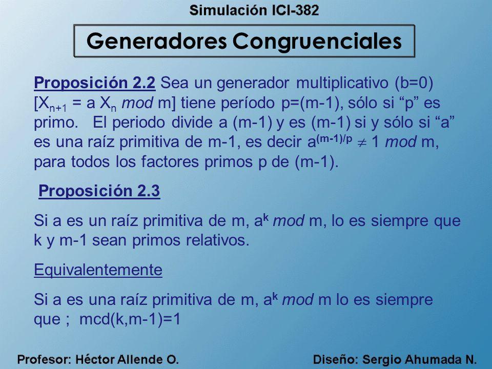 Proposición 2.2 Sea un generador multiplicativo (b=0) [X n+1 = a X n mod m] tiene período p=(m-1), sólo si p es primo. El periodo divide a (m-1) y es