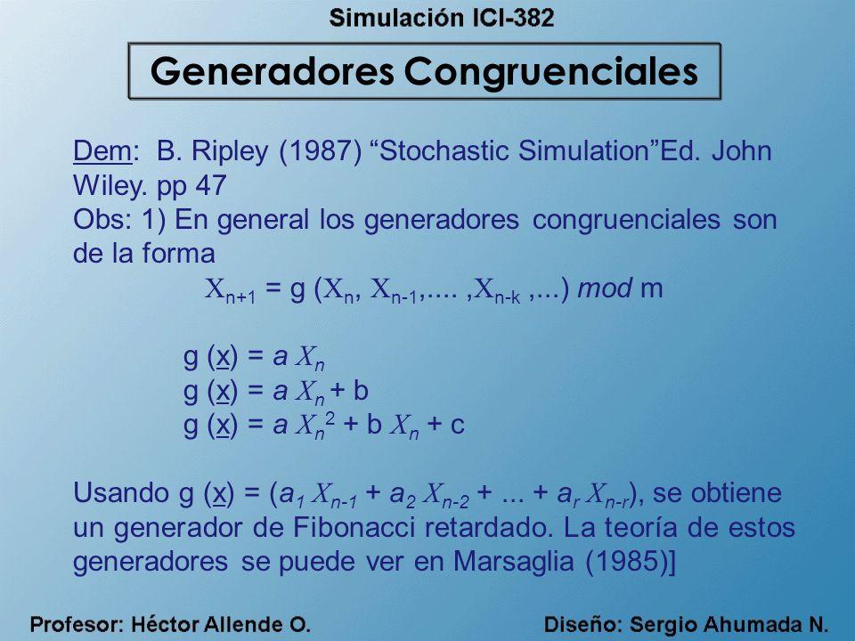 Dem: B. Ripley (1987) Stochastic SimulationEd. John Wiley. pp 47 Obs: 1) En general los generadores congruenciales son de la forma X n+1 = g ( X n, X