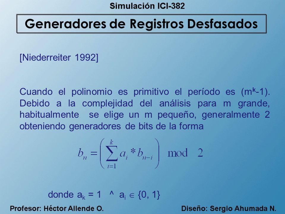[Niederreiter 1992] Cuando el polinomio es primitivo el período es (m k -1). Debido a la complejidad del análisis para m grande, habitualmente se elig