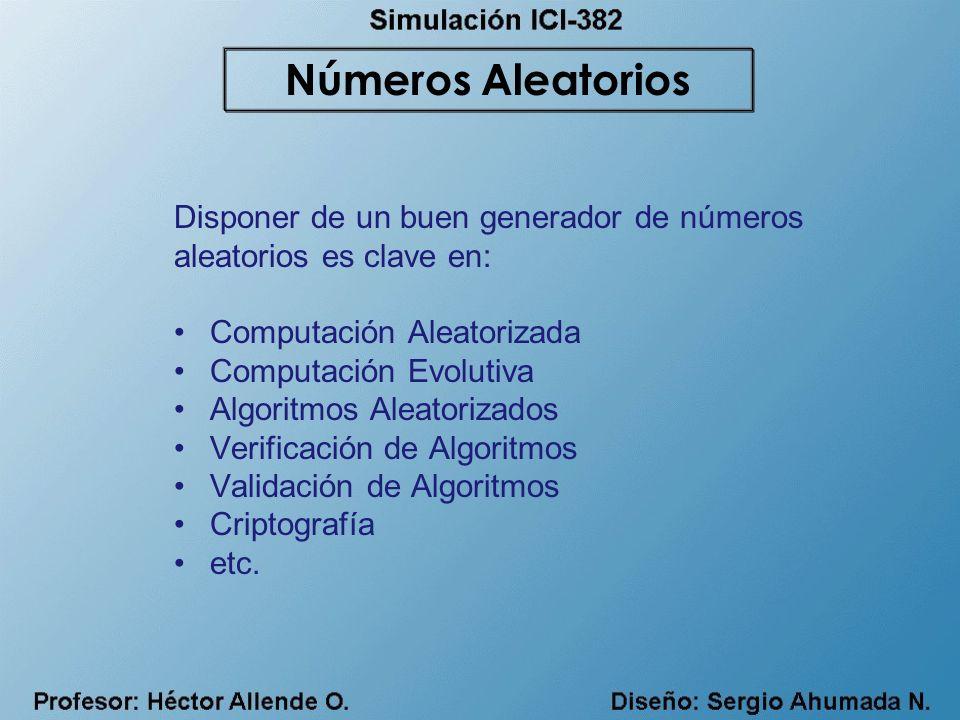 Disponer de un buen generador de números aleatorios es clave en: Computación Aleatorizada Computación Evolutiva Algoritmos Aleatorizados Verificación